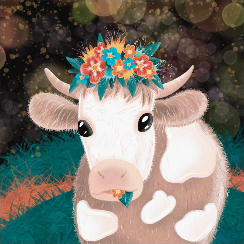 Premium poster Pretty cow with flowers