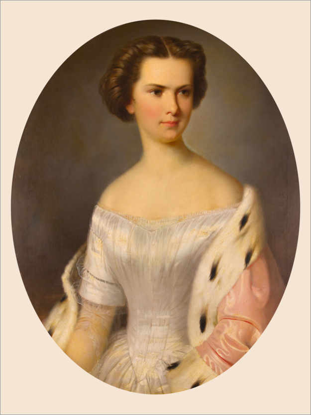 Premium poster Portrait of the young Empress Elisabeth with an ermine cloak