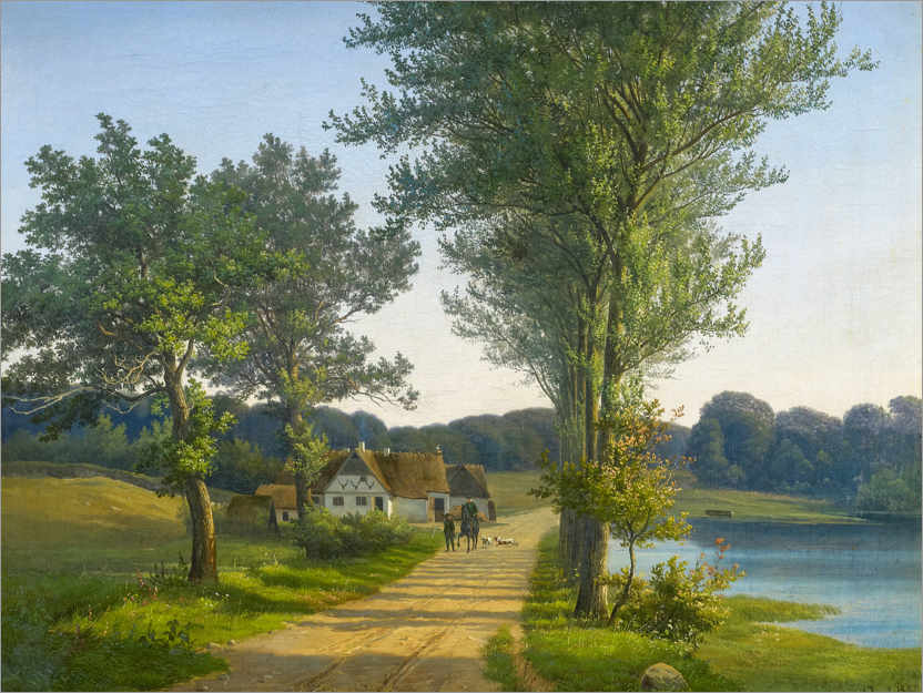 Premium poster Danish summer landscape with riders on the country road
