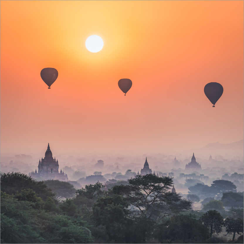 Premium poster Hot air balloons over the temples of Bagan