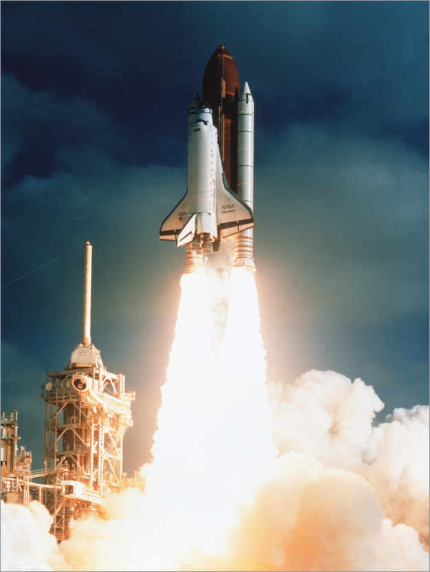 Premium poster Launch of shuttle STS-31, carrying space telescope