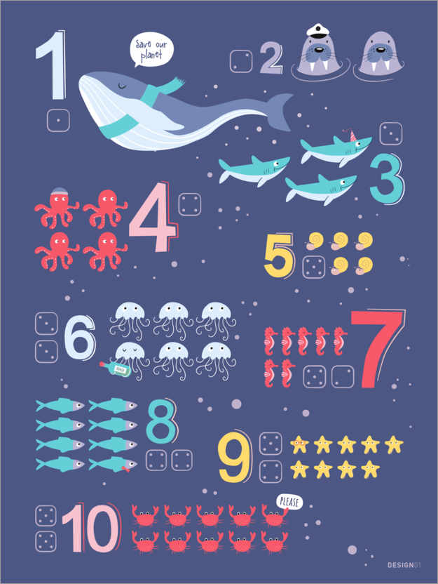 Premium poster Counting numbers with marine animals