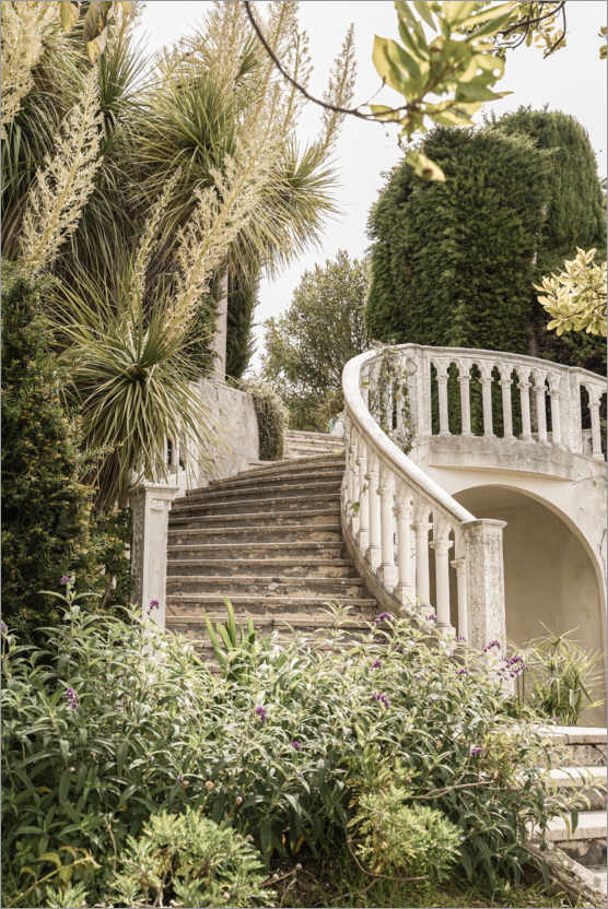 Premium poster French Vintage Garden Steps In The South Of France