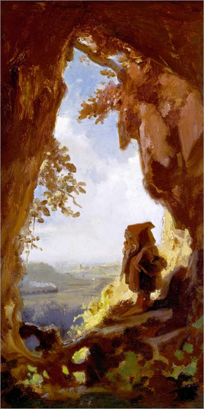 Premium poster Gnome, looking at the first railway out of a cave