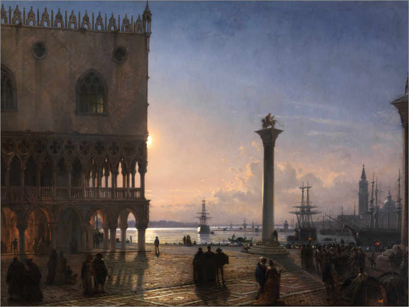 Premium poster Piazza San Marco by moonlight
