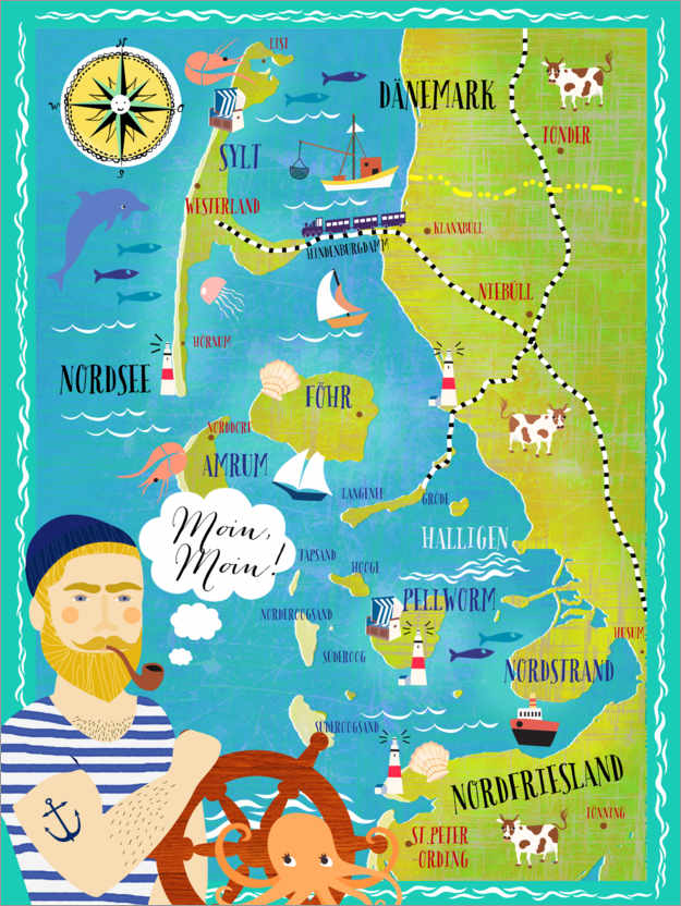 Premium poster Colorful map Nordfriesland