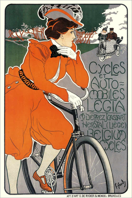 Premium poster Bicycles and automobiles