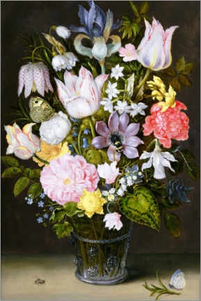 Wood print  Still life with flowers - Ambrosius Bosschaert