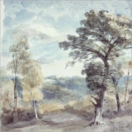 Wood print  Landscape with trees and a distant mansion - John Constable