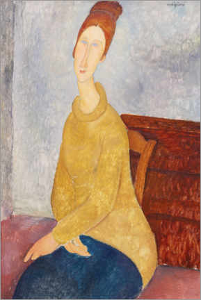 Premium poster Jeanne Hebuterne in a Yellow Jumper