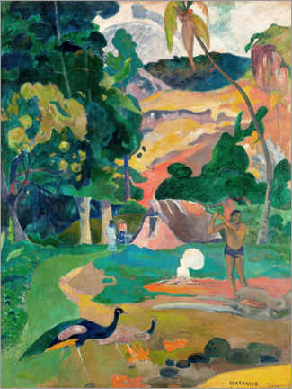 Wood print  Landscape with peacocks - Paul Gauguin