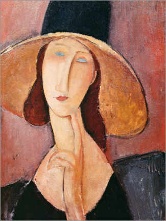 Wall sticker  Jeanne Hebuterne in a large hat - Amedeo Modigliani