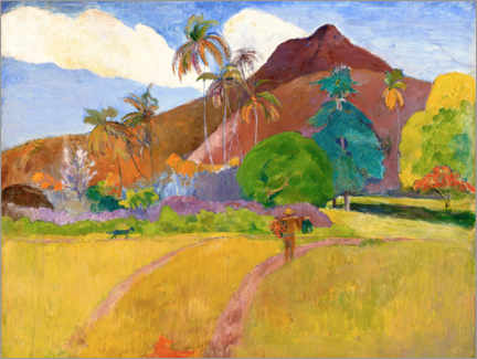 Wood print  Tahitian landscape with mountains - Paul Gauguin