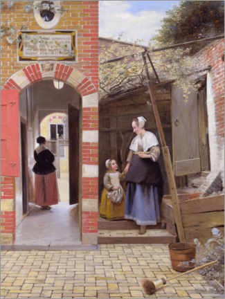 Premium poster  The Courtyard of a House in Delft - Pieter de Hooch
