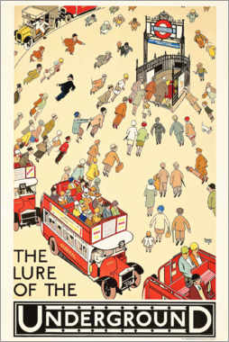 Wood print  The Lure of the underground - Alfred Leete