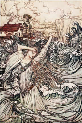 Aluminium print  Undine disappears in the Danube - Arthur Rackham