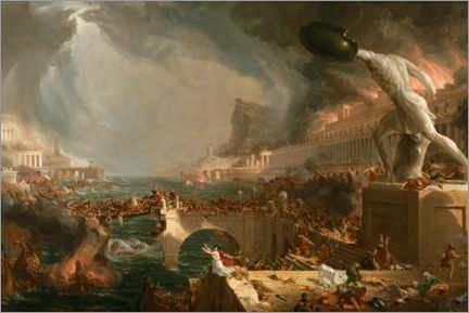 Wood print  Fall of Rome (Destruction) - Thomas Cole
