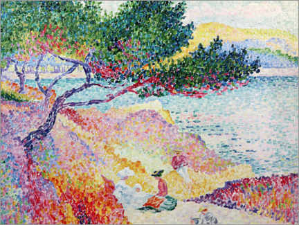 Acrylic print  The beach of Saint-Clair - Henri Edmond Cross