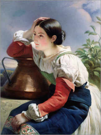 Wood print  Young Italian at the Well - Franz Xaver Winterhalter