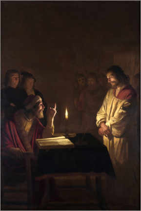 Canvas print  Christ before the high priest - Gerard van Honthorst