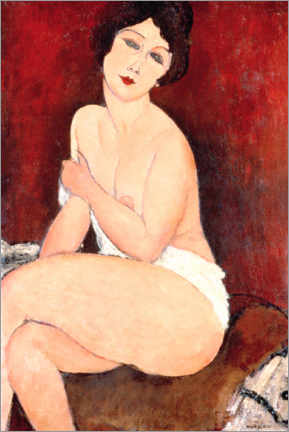 Wood print  Seated nude on a sofa (or: La belle Romaine) - Amedeo Modigliani