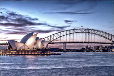 Aluminium print  Opera and bridge, Sydney
