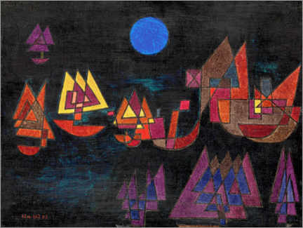Wood print  Ships in the dark - Paul Klee