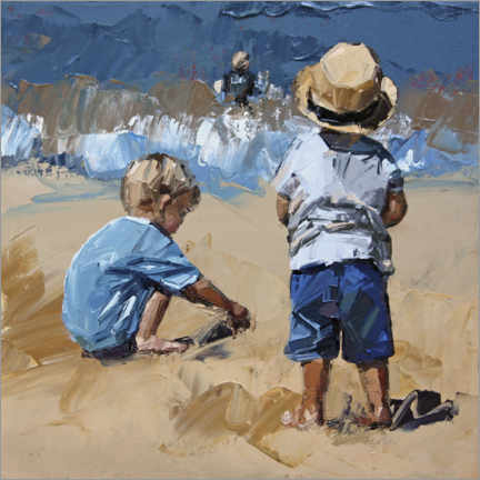 Acrylic print  Children in the sand - Claire McCall