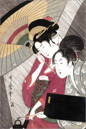Wood print  Geisha and attendant on a rainy night - Kitagawa Utamaro