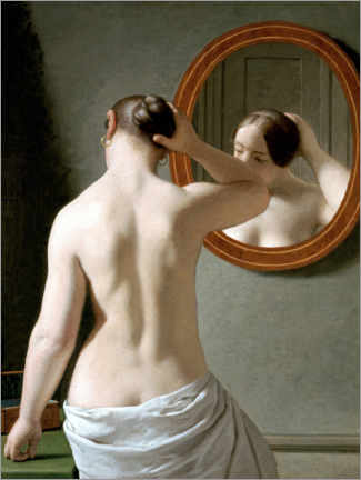 Wall sticker  Young woman in front of a mirror - Christoffer Wilhelm Eckersberg