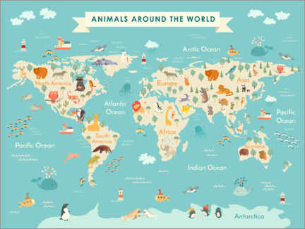Wood print  World map with animals (English) - Kidz Collection