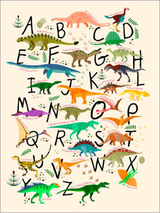 Acrylic print  Dino Alphabet - Kidz Collection