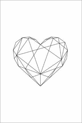 Acrylic print  Black Geometric Heart - Pulse of Art