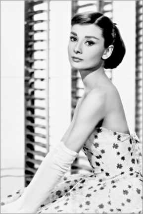 Wall sticker  Audrey Hepburn in flower dress - Celebrity Collection
