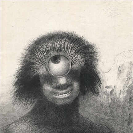 Wood print  Smiling and Hideous Cyclops - Odilon Redon