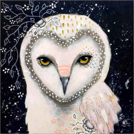 Wood print  Melody of the owl - Micki Wilde