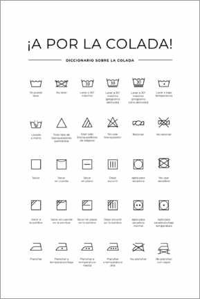 Foam board print  Washing and Care Symbols (Spanish)