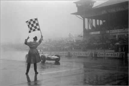 Premium poster  Jackie Stewart, chequered flag for victory at German GP 1968