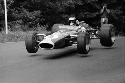 Canvas print  Jim Clark takes off in the Lotus 49 Ford, Nürburgring 1967