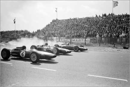 Wood print  Jim Clark, Graham Hill and Bruce McLaren at the start, Zandvoort 1963