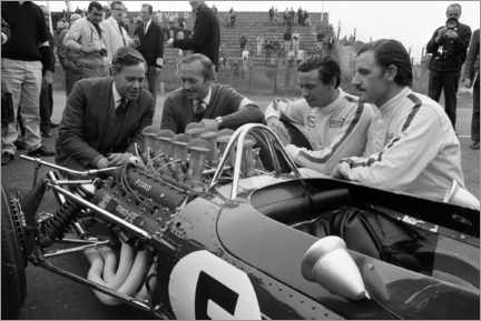 Canvas print  Keith Duckworth, Colin Chapman, Jim Clark and Graham Hill, Lotus 49 Ford 1967