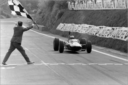 Premium poster  Jim Clark takes the chequered flag, French GP 1965