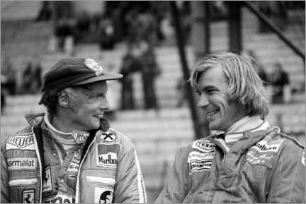 Foam board print  Niki Lauda and James Hunt, Formula 1 GP, Belgium 1977