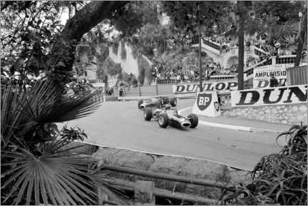 Wall sticker  Graham Hill leads Jackie Stewart, Monte Carlo, Monaco 1965
