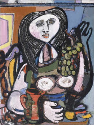 Canvas print  Woman with Grapes - Jankel Adler