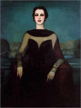 Wood print  Woman in black - Federico Beltrán Masses