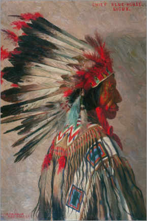Wood print  Chief Blue Horse, Sioux - Elbridge Ayer Burbank