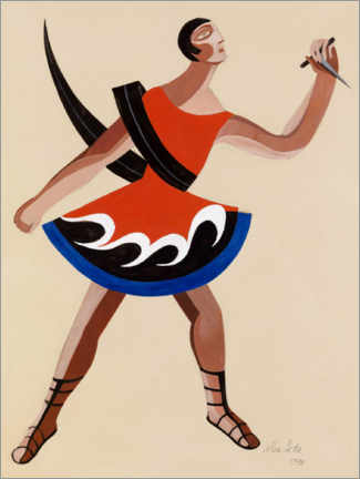 Wood print  Costume design for the Phoenicians of Euripides - Alexandra Exter
