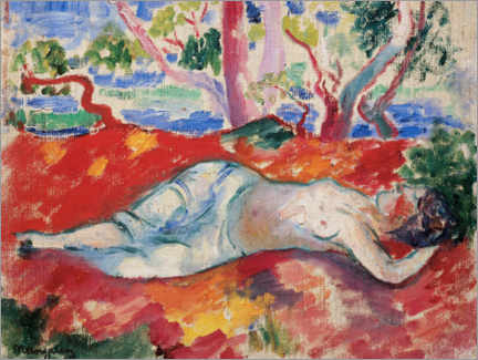 Wood print  A sleeping woman - Henri Manguin