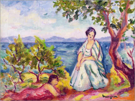 Wood print  Two figures next to the water - Henri Manguin